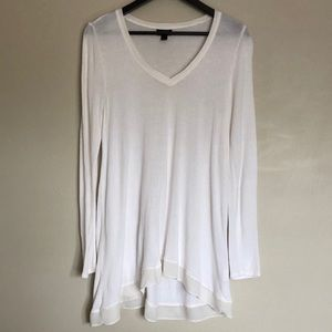 a.n.a Long Sleeve White Tee with Chiffon Detail